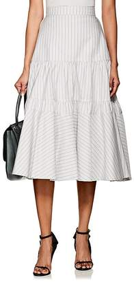 Calvin Klein Women's Striped Silk-Cotton Tiered Full Skirt