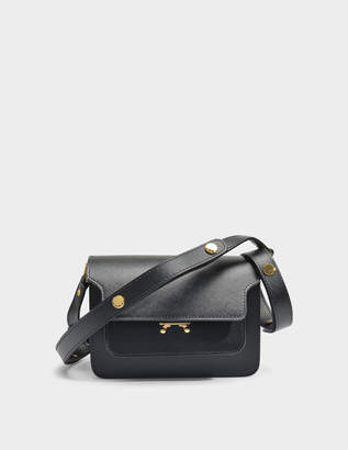 Marni Mini Trunk Bag in Black Saffiano Leather