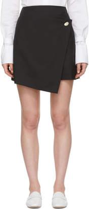 MAISON KITSUNÉ Grey Wool Willow Wrap Miniskirt