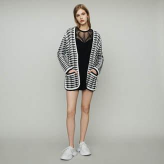 Maje Long cardigan jacket in tweed-style