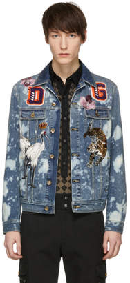 Dolce & Gabbana Blue Denim Embroidered Patches Jacket