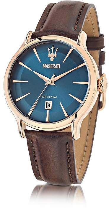Epoca Maserati Blue Dial and Brown Leather Strap Men's Watch