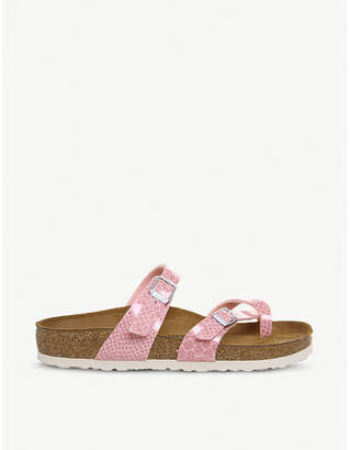 Birkenstock Mayari cross-strap glittered faux-leather sandals
