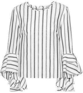 Milly Gabby Ruffle-trimmed Striped Cotton-poplin Blouse