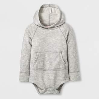 Cat & Jack Toddler Girls' Adaptive Long Sleeve Hooded Bodysuit Heather Gray