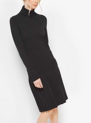 Michael Kors Pleated Merino Wool Turtleneck Dress