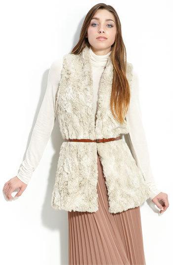 Trouvé Faux Fur Belted Vest