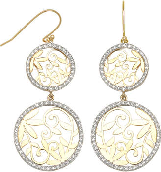 JCPenney FINE JEWELRY 14K Gold-Over-Silver Diamond-Accent Double Circle Earrings