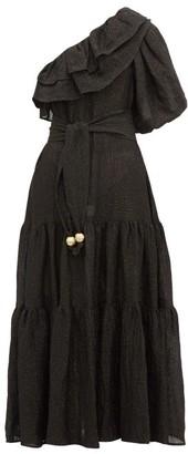 Lisa Marie Fernandez Arden One Shoulder Ruffled Linen Blend Dress - Womens - Black