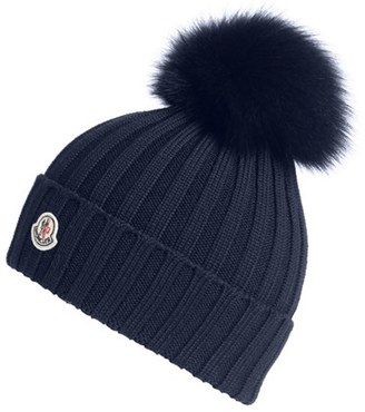 Moncler Genuine Fox Fur Pom Ribbed Wool Beanie $335 thestylecure.com