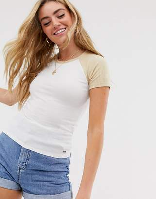 Hollister color block t-shirt in rib