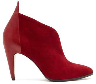 Givenchy - Suede Ankle Boots - Womens - Dark Red