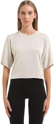 adidas Cropped Knit T-Shirt W/ Sheer Stripes