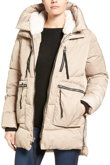STEVE MADDENSteve Madden Hooded Puffer Jacket with Faux Shearling Trim