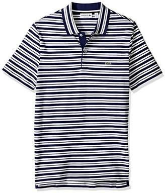 Lacoste Men's Short Sleeve Pique w/Stripe Rib Collar Polo