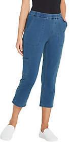 Denim & Co. Petite Comfy Knit Denim Slim LegCargo Crop Jean