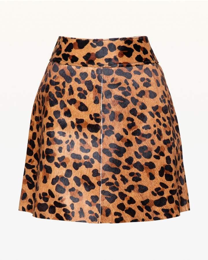 Leopard Print Pony Hair Skirt