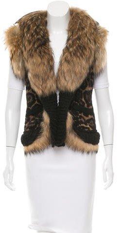 Roberto CavalliRoberto Cavalli Fur-Trimmed Patterned Vest w/ Tags