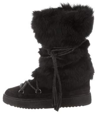 Frye Suede Fur-Trimmed Mid-Calf Boots Black Suede Fur-Trimmed Mid-Calf Boots