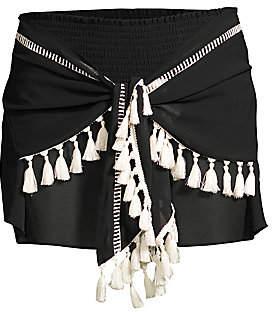 Ramy Brook Women's Dario Sheer Tie-Front Tassel Shorts