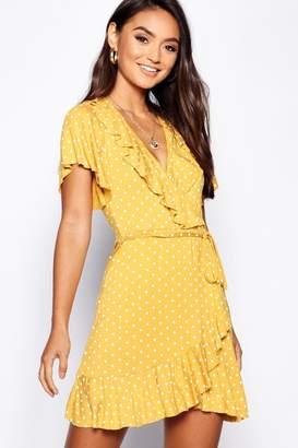 boohoo Petite Polka Dot Ruffle Wrap Tea Dress