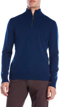Qi Suede Trim Quarter-Zip Cashmere Sweater