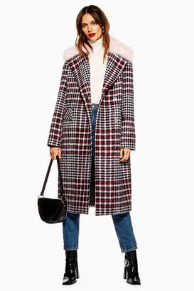 Topshop Womens Faux Fur Collar Check Coat - Multi