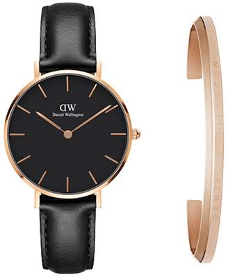 Daniel Wellington Classic Petite Leather Strap Watch & Cuff Gift Set, 32mm