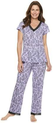 Croft & Barrow Petite Printed Lace-Trim Tee & Pants Pajama Set