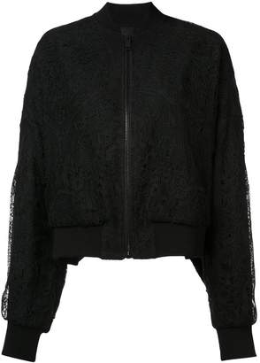 Vera Wang sheer back lace bomber jacket