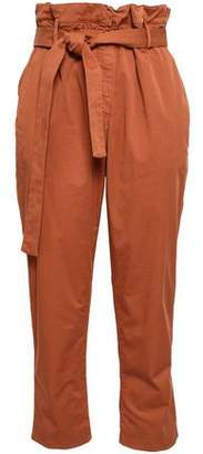 Brunello Cucinelli Cropped Belted Cotton-blend Poplin Straight-leg Pants