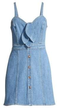 7 For All Mankind Double Bow Tie-Front Denim Dress