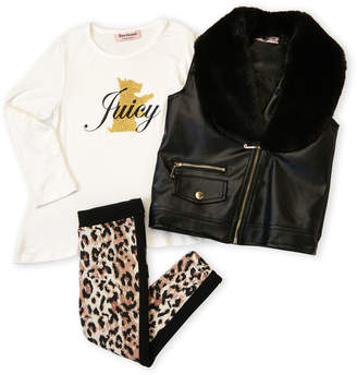 Juicy Couture Toddler Girls) 3-Piece Faux Leather Vest & Cheetah Leggings Set