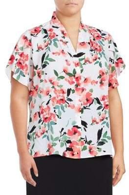 Calvin Klein Plus Floral V-Neck Blouse