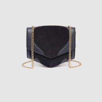 Sandro Dual-fabric medium Lou bag with studs