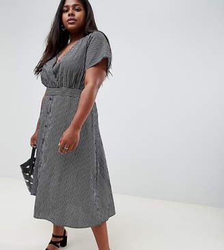 Glamorous Curve midi tea dress in fine stripe