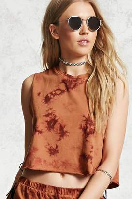 Forever 21 Crystal Dye Cropped Muscle Tee