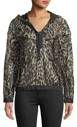 KENDALL + KYLIE Hooded Zip-Front Leopard-Print Jacket