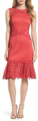 Tadashi Shoji Crochet Trim Pintucked Sheath Dress