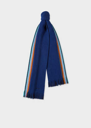 Paul Smith Men's Double-Face Blue Striped-Edge Wool Scarf