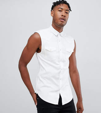 Asos Design DESIGN tall skinny fit sleeveless denim shirt in white