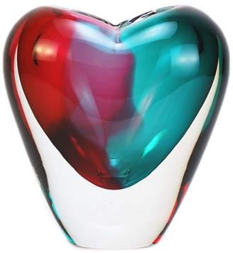 Glass Heart Mila Brown Murano Laguna Collection Vase