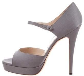 Saint Laurent Satin Round-Toe Sandals