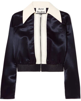 Acne Studios Rosaleen Cropped Canvas-trimmed Satin Bomber Jacket - Navy