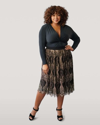 Marée Pour Toi Maree Pour Toi Black And Gold Lace Midi Skirt in Black/Gold Size X-Large 24/26 Polyester