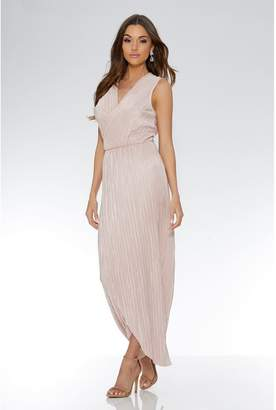 Quiz Nude Pleated Wrap Sleeveless Maxi Dress