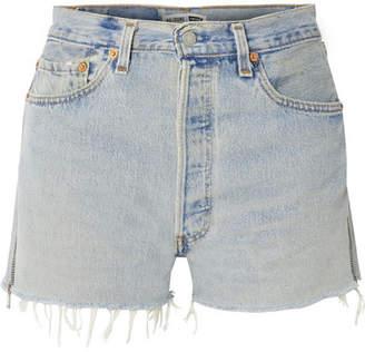 RE/DONE Levi's Zip-embellished Frayed Denim Shorts - Light denim