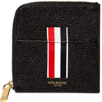 Thom Browne Stripes Pebbled Leather Card Holder