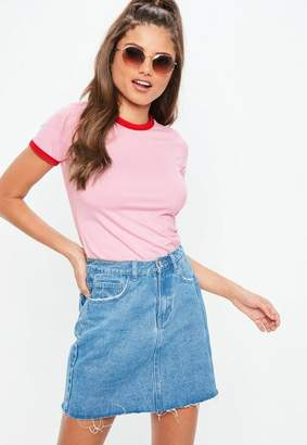 Missguided Pink Ringer Short Sleeve T-Shirt