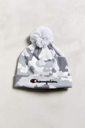 ff8460e7358 at Urban Outfitters · Champion Script Knit Pompom Beanie